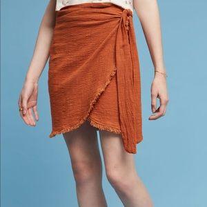 ANTHROPOLOGIE Terra-cotta Orange Tie Wrap Skirt